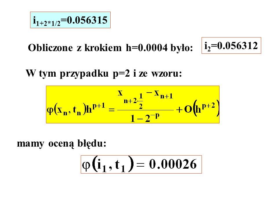 Obliczone z krokiem h=0.0004 było: i 2 =0.056312 W tym przypadku p=2 i ze wzoru: mamy oceną błędu: