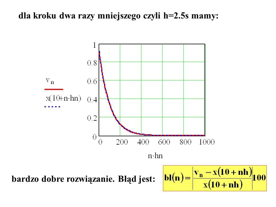 dla kroku dwa razy mniejszego czyli h=2.5s mamy: bardzo dobre rozwiązanie. Błąd jest:
