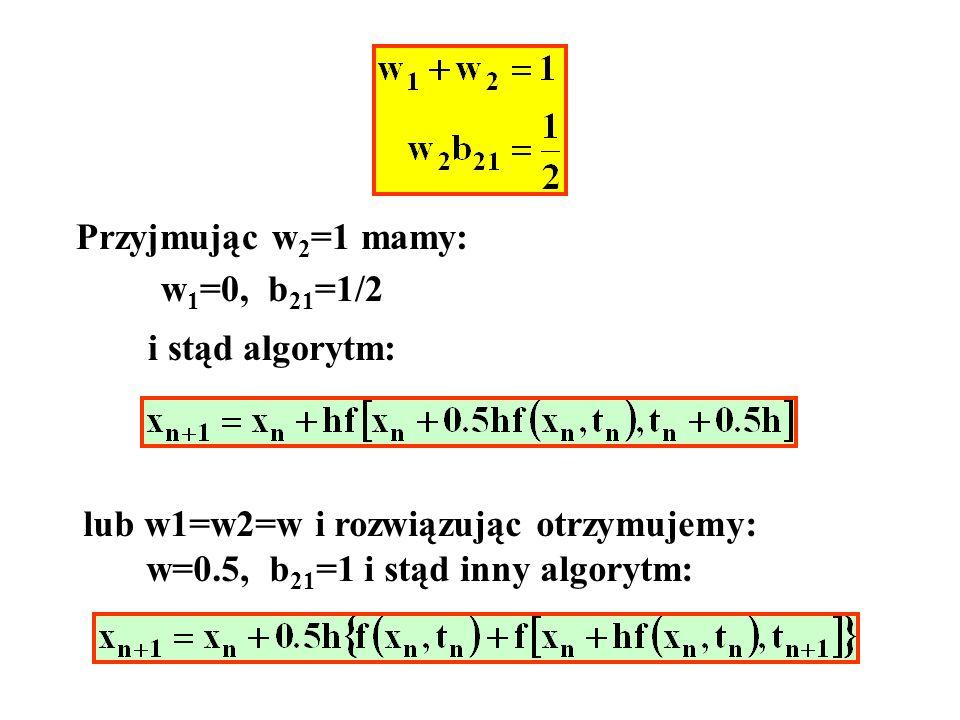 Po czasie t=10s można pominąć drugi wyraz w rozwiązaniu czyli praktycznie a więc wystarczy liczyć do 1000s z krokiem równym 100/20=5s i mamy:
