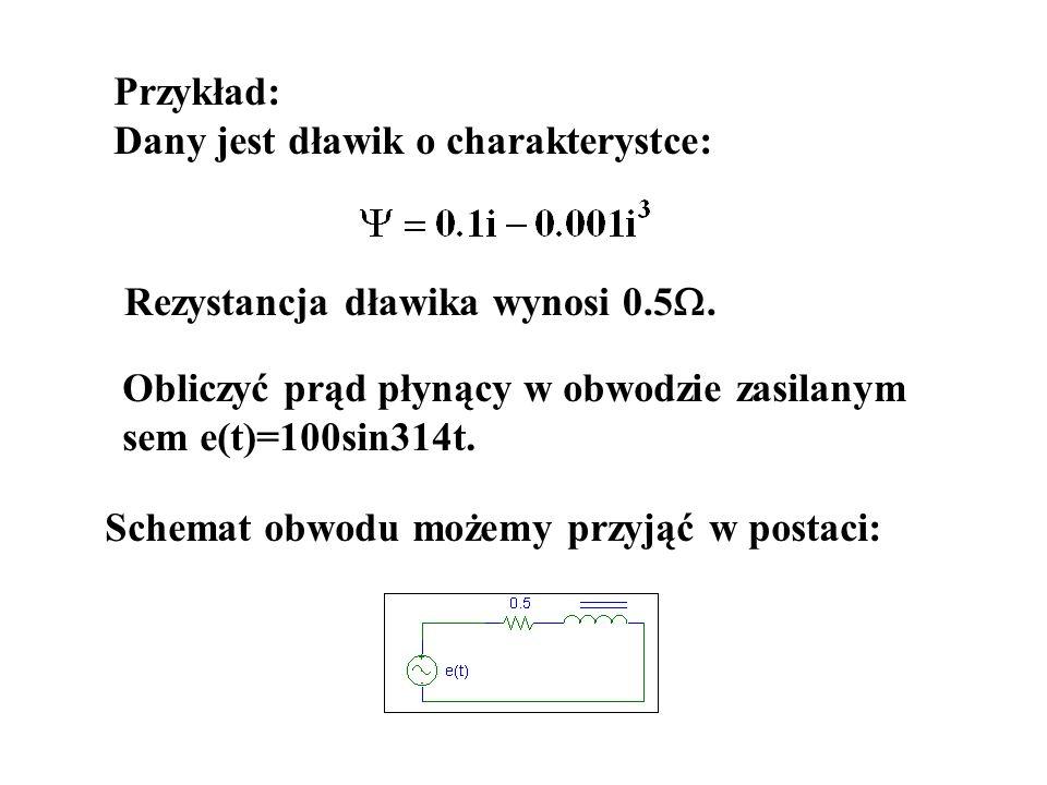 Przykład: Dany jest dławik o charakterystce: Rezystancja dławika wynosi 0.5. Obliczyć prąd płynący w obwodzie zasilanym sem e(t)=100sin314t. Schemat o