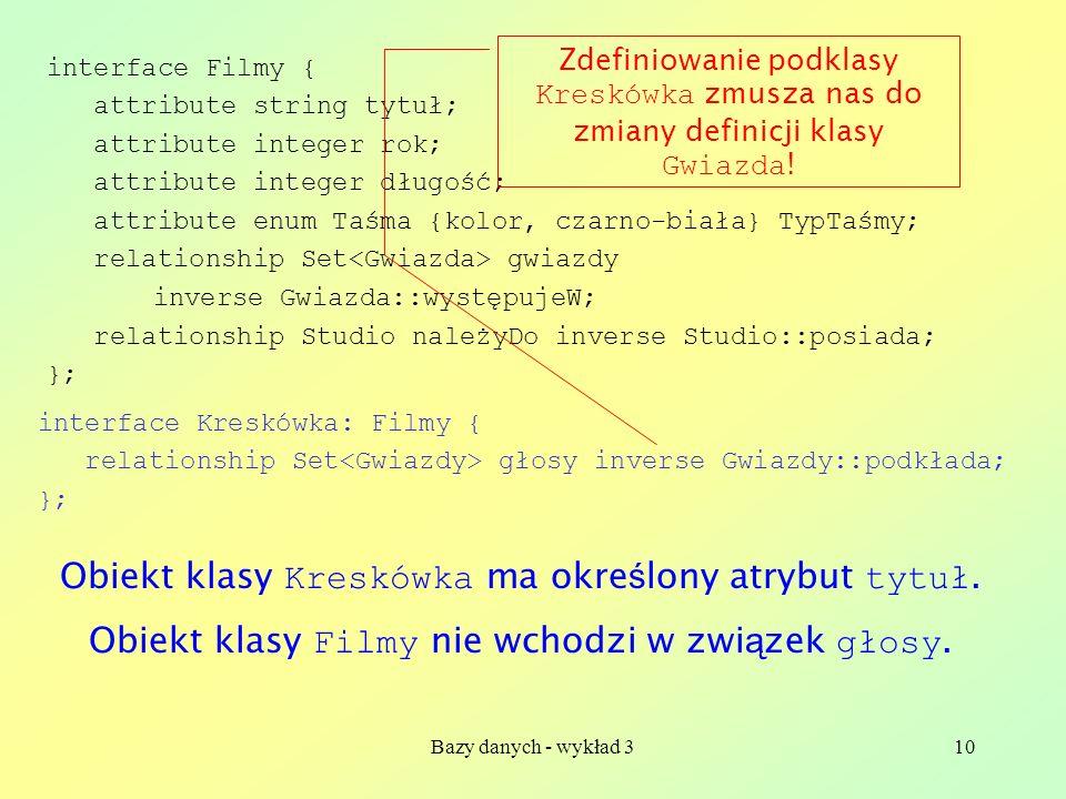 Bazy danych - wykład 310 interface Kreskówka: Filmy { relationship Set głosy inverse Gwiazdy::podkłada; }; interface Filmy { attribute string tytuł; a