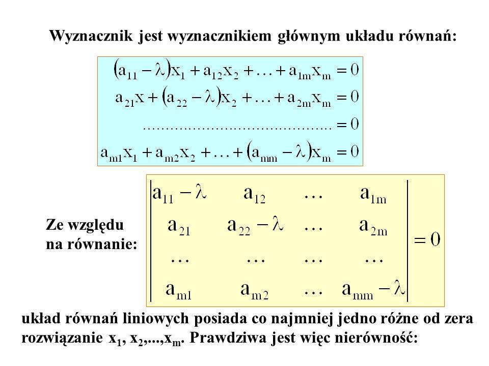 Wyznacznik jest wyznacznikiem głównym układu równań: Ze względu na równanie: układ równań liniowych posiada co najmniej jedno różne od zera rozwiązani