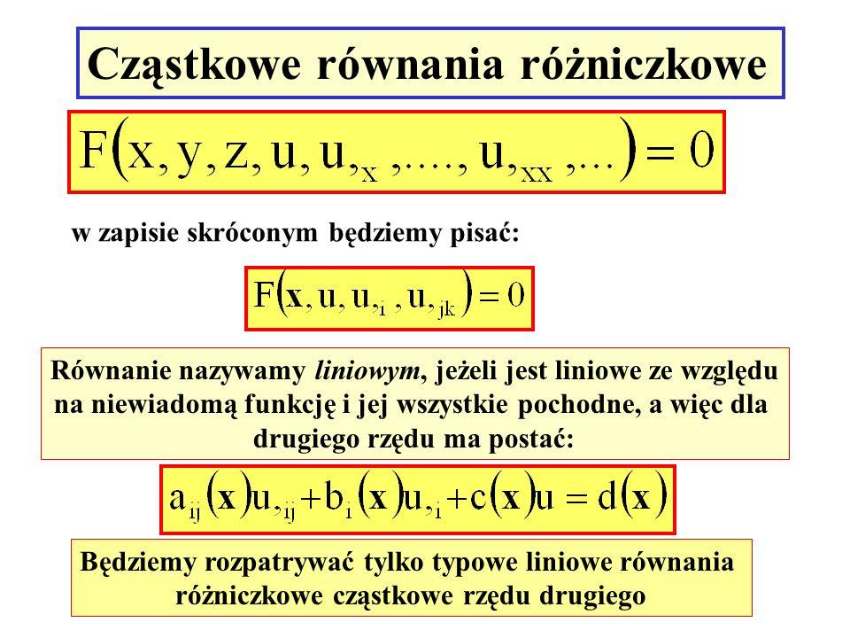 Cząstkowe równania różniczkowe w zapisie skróconym będziemy pisać: Równanie nazywamy liniowym, jeżeli jest liniowe ze względu na niewiadomą funkcję i
