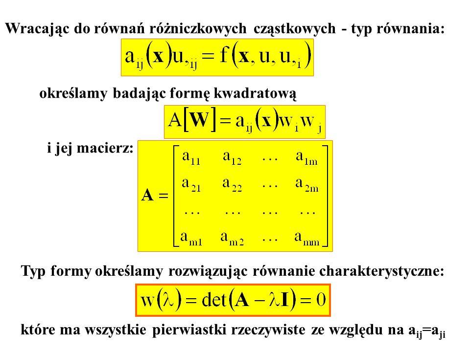 Wracając do równań różniczkowych cząstkowych - typ równania: określamy badając formę kwadratową i jej macierz: Typ formy określamy rozwiązując równani