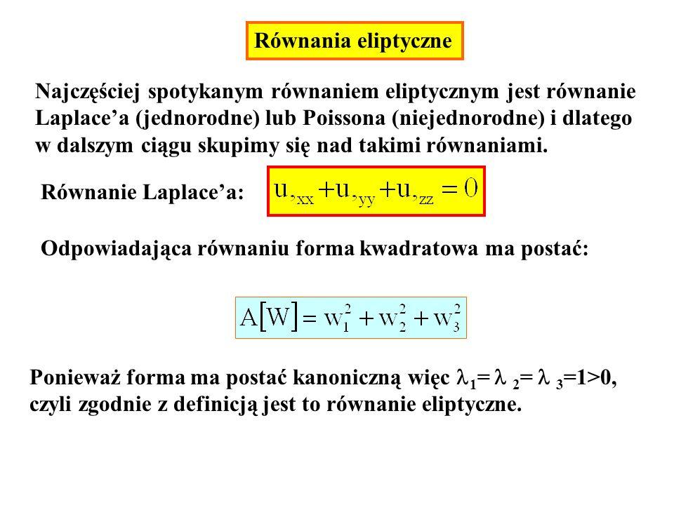 Równanie Laplacea: Odpowiadająca równaniu forma kwadratowa ma postać: Ponieważ forma ma postać kanoniczną więc 1 = 2 = 3 =1>0, czyli zgodnie z definic