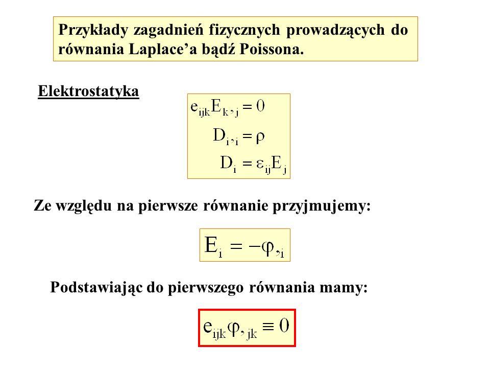 Elektrostatyka Ze względu na pierwsze równanie przyjmujemy: Przykłady zagadnień fizycznych prowadzących do równania Laplacea bądź Poissona. Podstawiaj