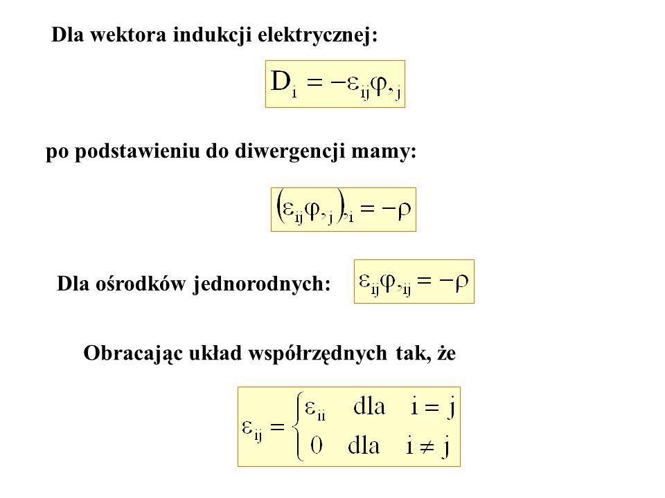 Dla wektora indukcji elektrycznej: po podstawieniu do diwergencji mamy: Dla ośrodków jednorodnych: Obracając układ współrzędnych tak, że