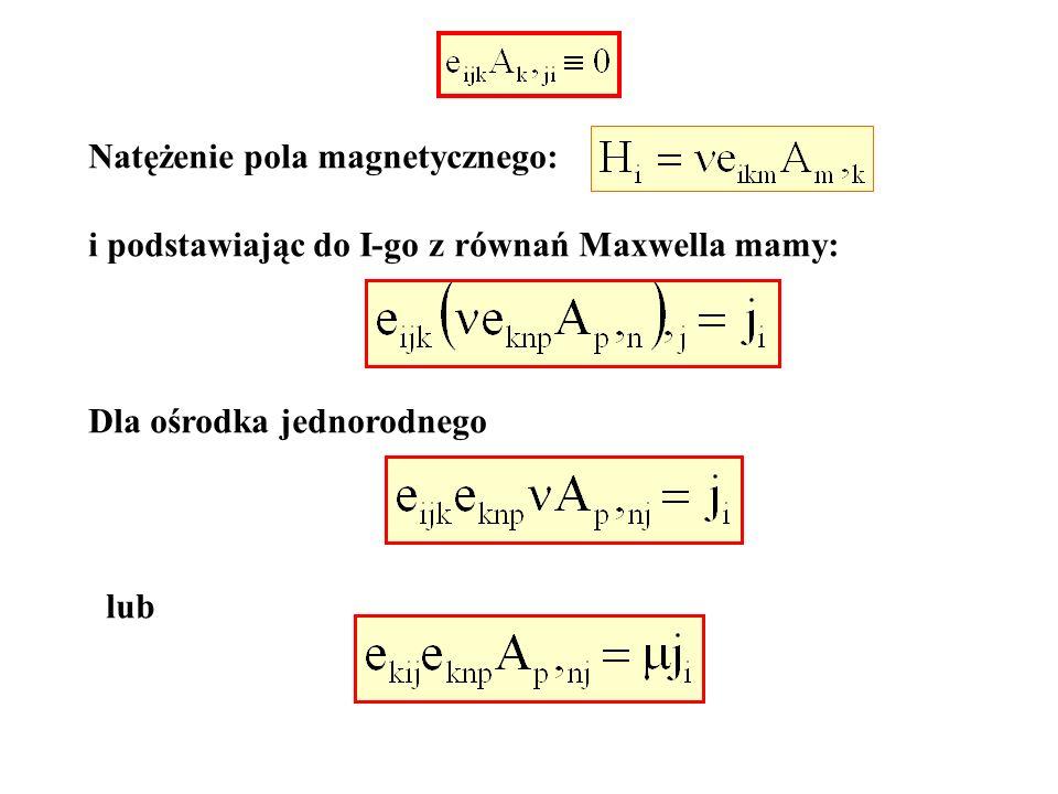 Natężenie pola magnetycznego: i podstawiając do I-go z równań Maxwella mamy: Dla ośrodka jednorodnego lub