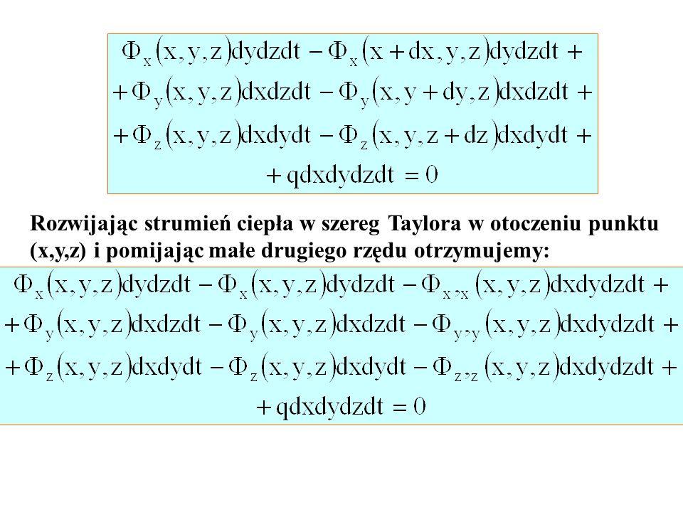 Rozwijając strumień ciepła w szereg Taylora w otoczeniu punktu (x,y,z) i pomijając małe drugiego rzędu otrzymujemy: