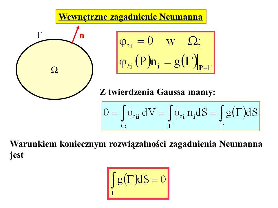 Wewnętrzne zagadnienie Neumanna n Z twierdzenia Gaussa mamy: Warunkiem koniecznym rozwiązalności zagadnienia Neumanna jest