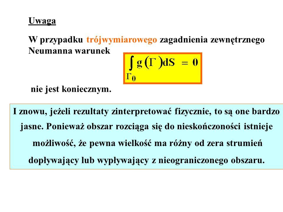 Uwaga W przypadku trójwymiarowego zagadnienia zewnętrznego Neumanna warunek nie jest koniecznym. I znowu, jeżeli rezultaty zinterpretować fizycznie, t