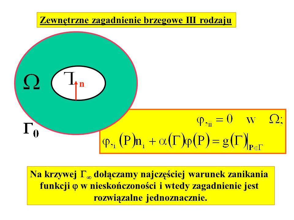 Zewnętrzne zagadnienie brzegowe III rodzaju n Na krzywej dołączamy najczęściej warunek zanikania funkcji w nieskończoności i wtedy zagadnienie jest ro