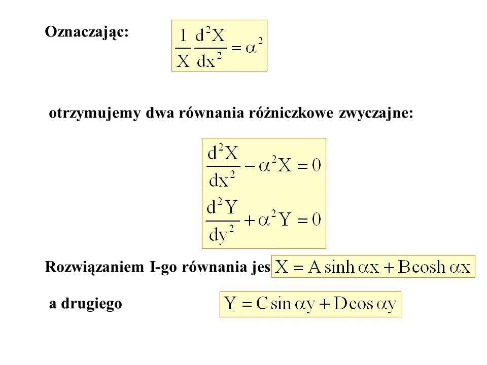 Oznaczając: otrzymujemy dwa równania różniczkowe zwyczajne: Rozwiązaniem I-go równania jest a drugiego