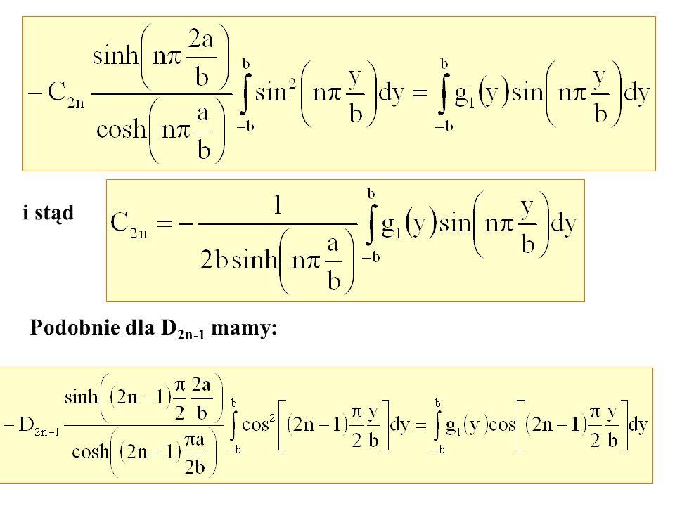 i stąd Podobnie dla D 2n-1 mamy: