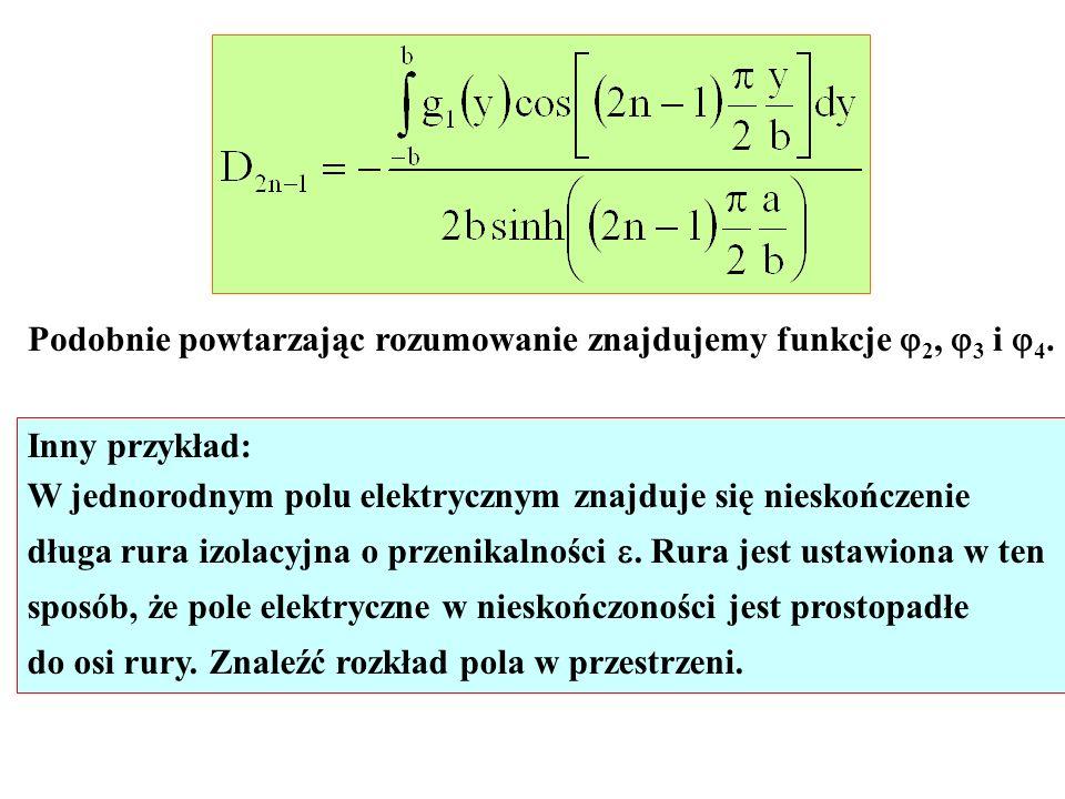 Podobnie powtarzając rozumowanie znajdujemy funkcje 2, 3 i 4. Inny przykład: W jednorodnym polu elektrycznym znajduje się nieskończenie długa rura izo