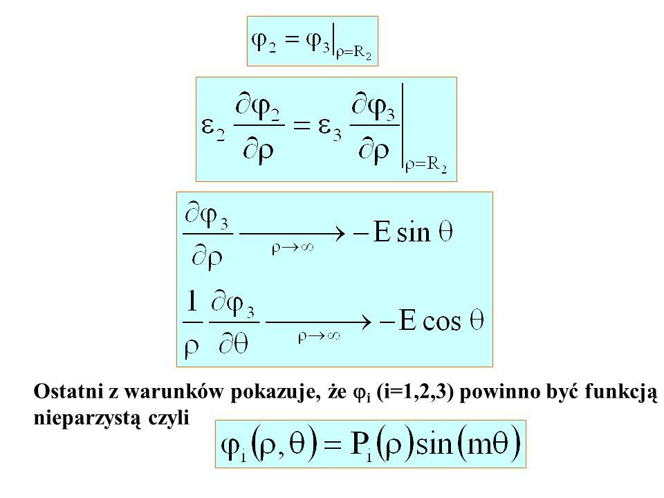Ostatni z warunków pokazuje, że i (i=1,2,3) powinno być funkcją nieparzystą czyli