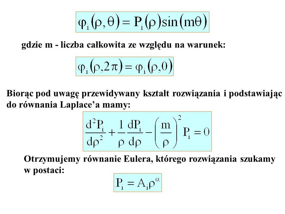 gdzie m - liczba całkowita ze względu na warunek: Biorąc pod uwagę przewidywany kształt rozwiązania i podstawiając do równania Laplacea mamy: Otrzymuj