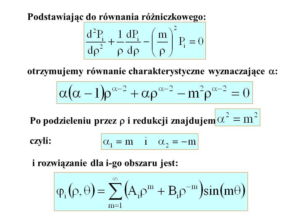 Podstawiając do równania różniczkowego: otrzymujemy równanie charakterystyczne wyznaczające : Po podzieleniu przez i redukcji znajdujemy: czyli: i roz