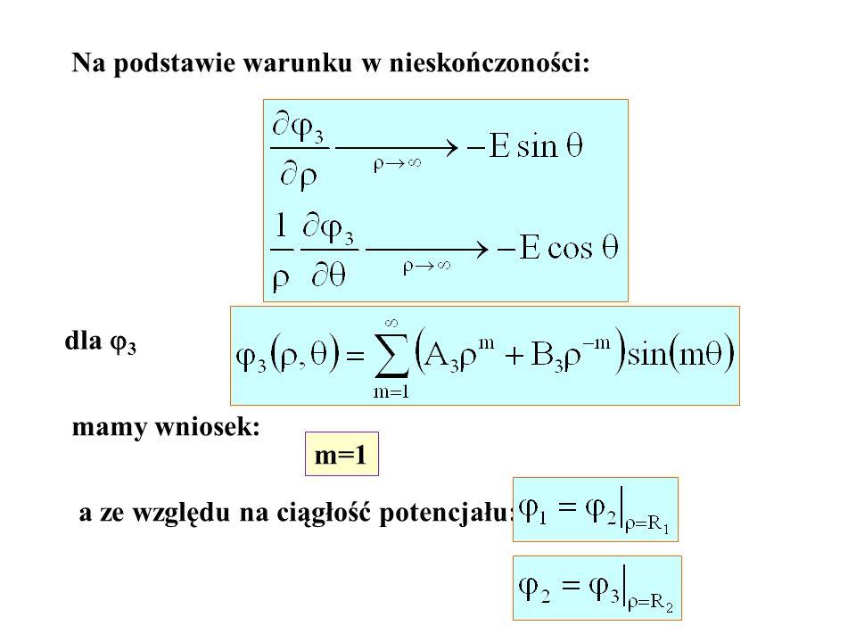 Na podstawie warunku w nieskończoności: dla 3 mamy wniosek: m=1 a ze względu na ciągłość potencjału: