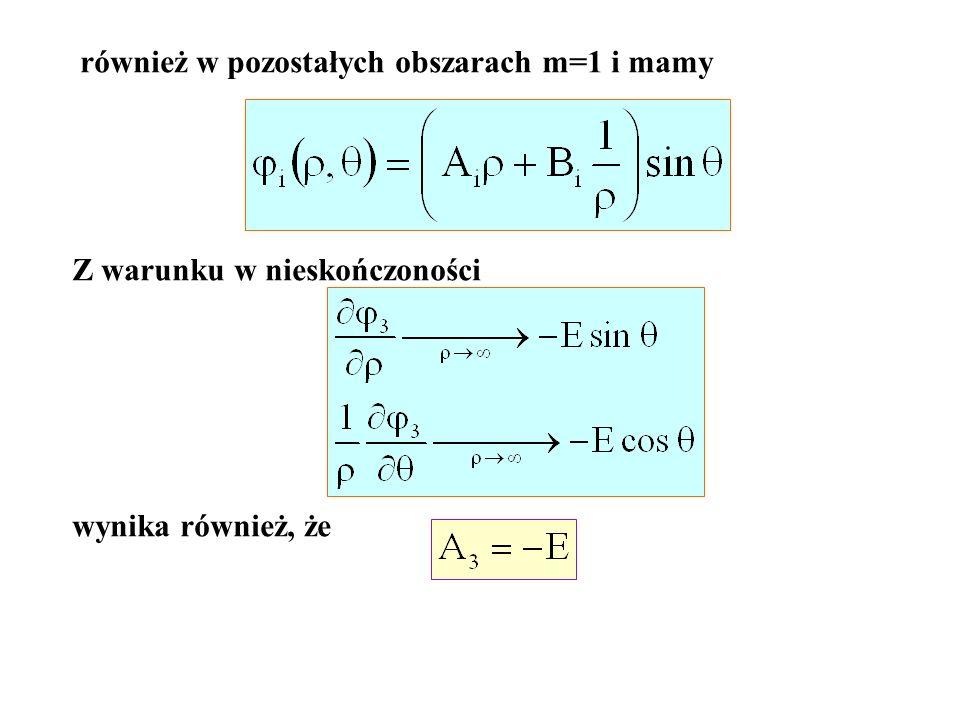 również w pozostałych obszarach m=1 i mamy Z warunku w nieskończoności wynika również, że