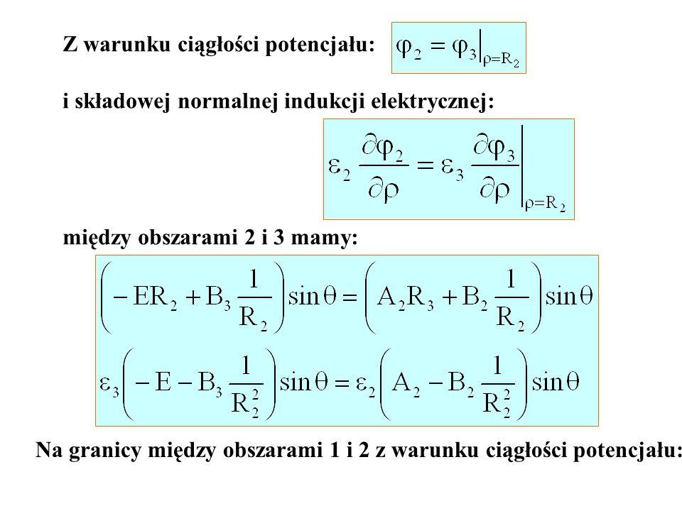 Z warunku ciągłości potencjału: i składowej normalnej indukcji elektrycznej: między obszarami 2 i 3 mamy: Na granicy między obszarami 1 i 2 z warunku