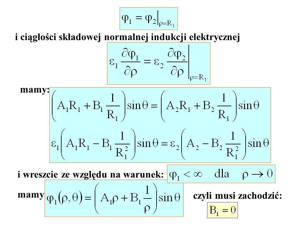 i ciągłości składowej normalnej indukcji elektrycznej mamy: i wreszcie ze względu na warunek: mamy: czyli musi zachodzić: