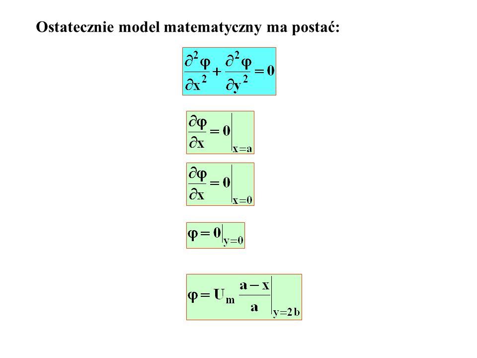 Ostatecznie model matematyczny ma postać: