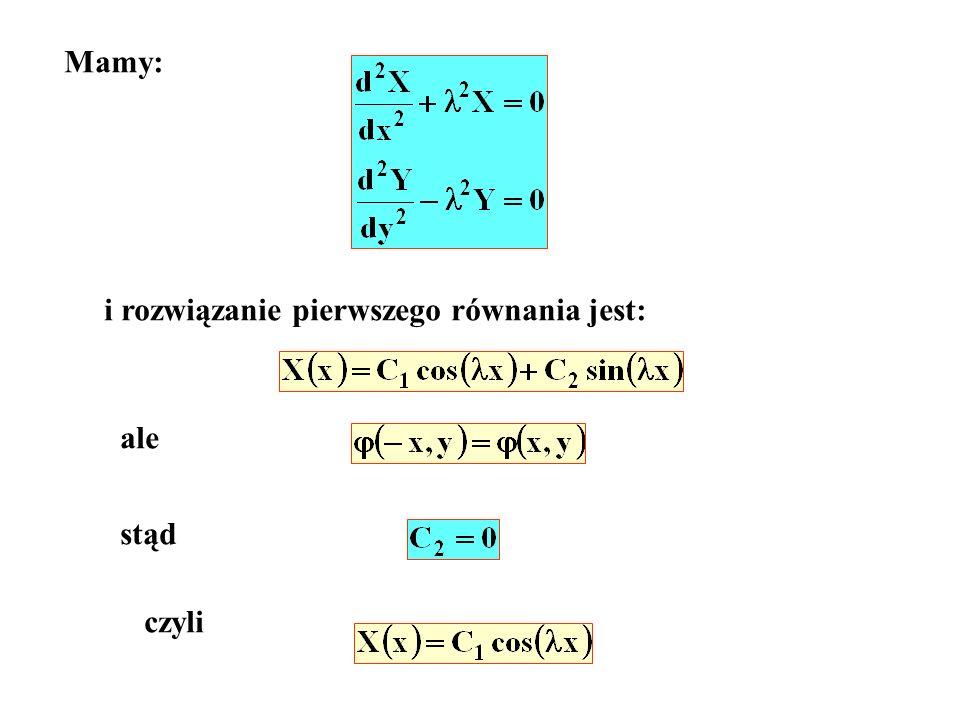 Mamy: i rozwiązanie pierwszego równania jest: ale stąd czyli