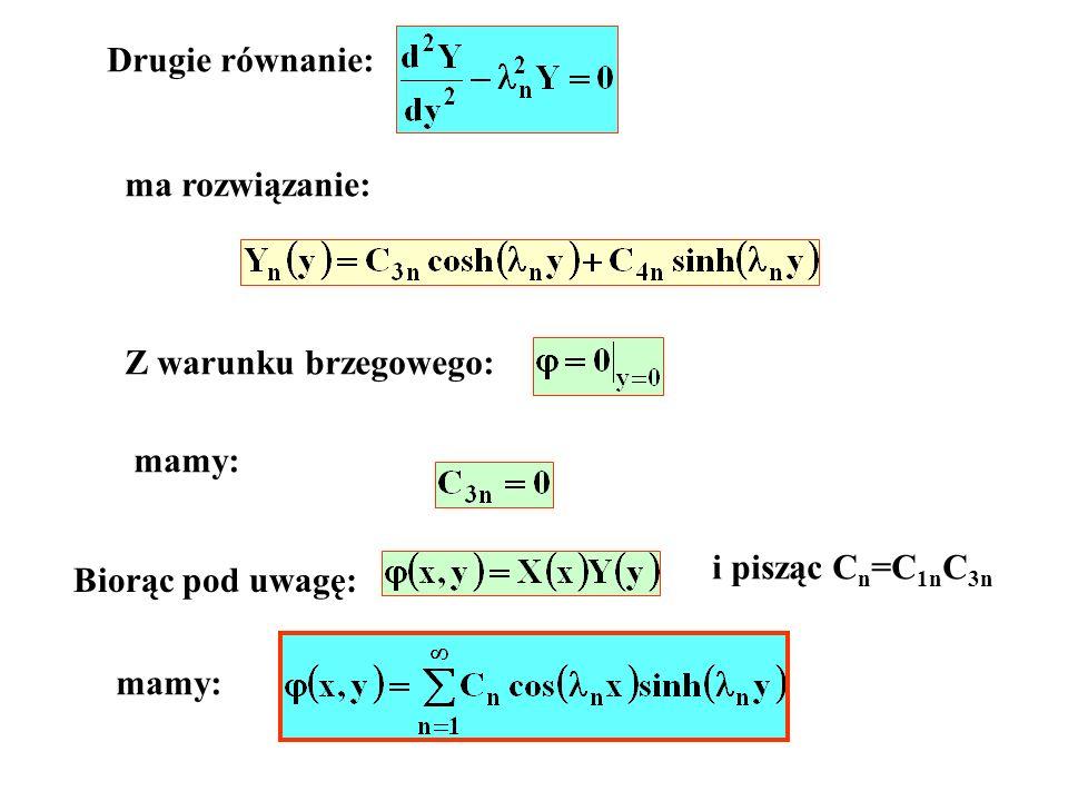 Drugie równanie: ma rozwiązanie: Z warunku brzegowego: mamy: Biorąc pod uwagę: mamy: i pisząc C n =C 1n C 3n
