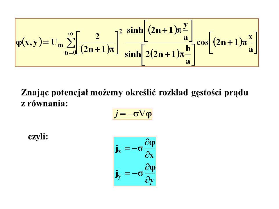 Znając potencjał możemy określić rozkład gęstości prądu z równania: czyli: