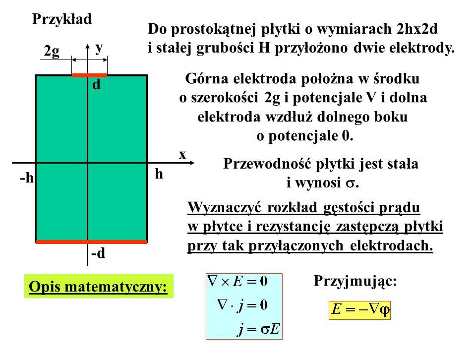 Przykład -h h d -d x y Do prostokątnej płytki o wymiarach 2hx2d i stałej grubości H przyłożono dwie elektrody. 2g Górna elektroda położna w środku o s