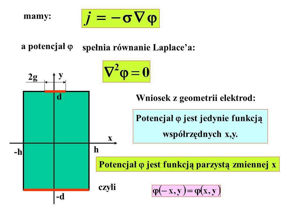 mamy: a potencjał spełnia równanie Laplacea: -h h d -d x y 2g Wniosek z geometrii elektrod: Potencjał jest jedynie funkcją współrzędnych x,y. Potencja