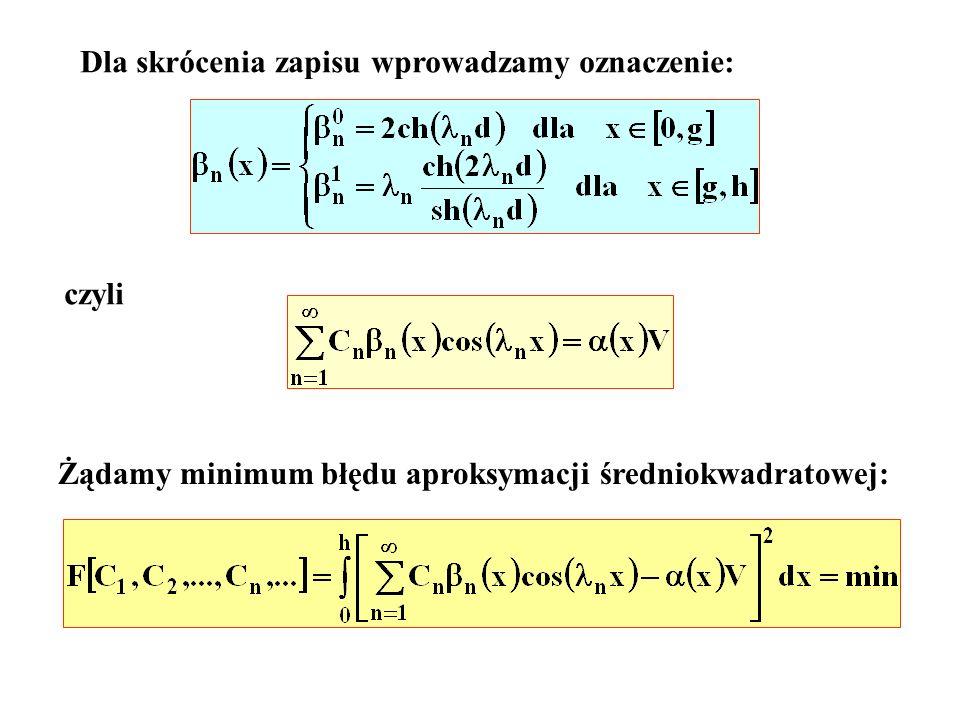 Dla skrócenia zapisu wprowadzamy oznaczenie: czyli Żądamy minimum błędu aproksymacji średniokwadratowej: