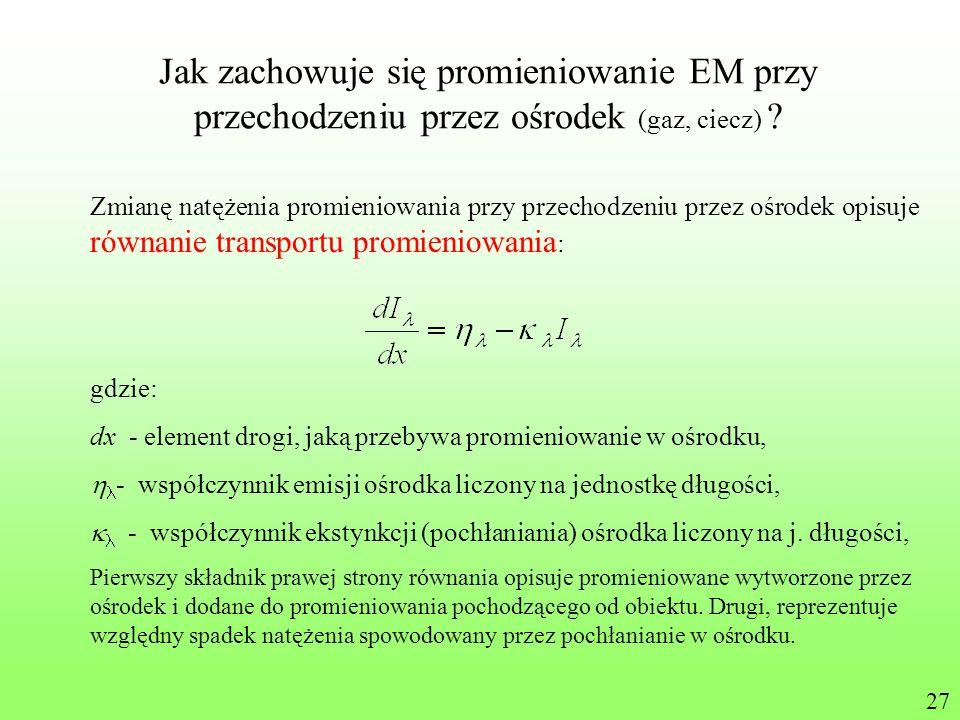 Jak zachowuje się promieniowanie EM przy przechodzeniu przez ośrodek (gaz, ciecz) ? Zmianę natężenia promieniowania przy przechodzeniu przez ośrodek o