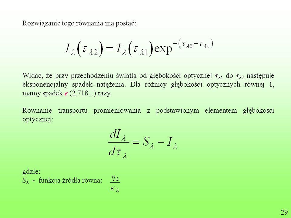 Rozwiązanie tego równania ma postać: Widać, że przy przechodzeniu światła od głębokości optycznej 1 do 2 następuje eksponencjalny spadek natężenia. Dl
