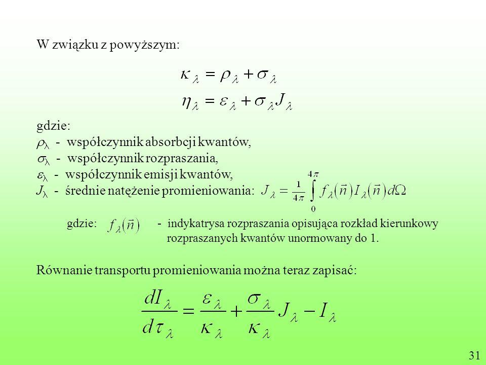 W związku z powyższym: gdzie: - współczynnik absorbcji kwantów, - współczynnik rozpraszania, - współczynnik emisji kwantów, J - średnie natężenie prom