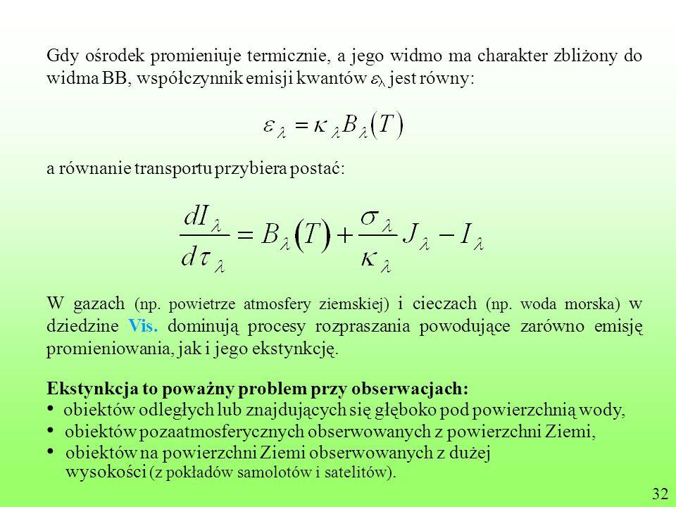 Gdy ośrodek promieniuje termicznie, a jego widmo ma charakter zbliżony do widma BB, współczynnik emisji kwantów jest równy: a równanie transportu przy