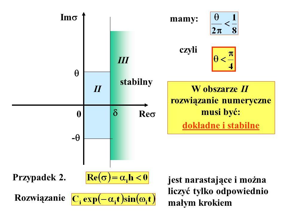 Im Re III stabilny 0 mamy: czyli - II W obszarze II rozwiązanie numeryczne musi być: dokładne i stabilne Przypadek 2.