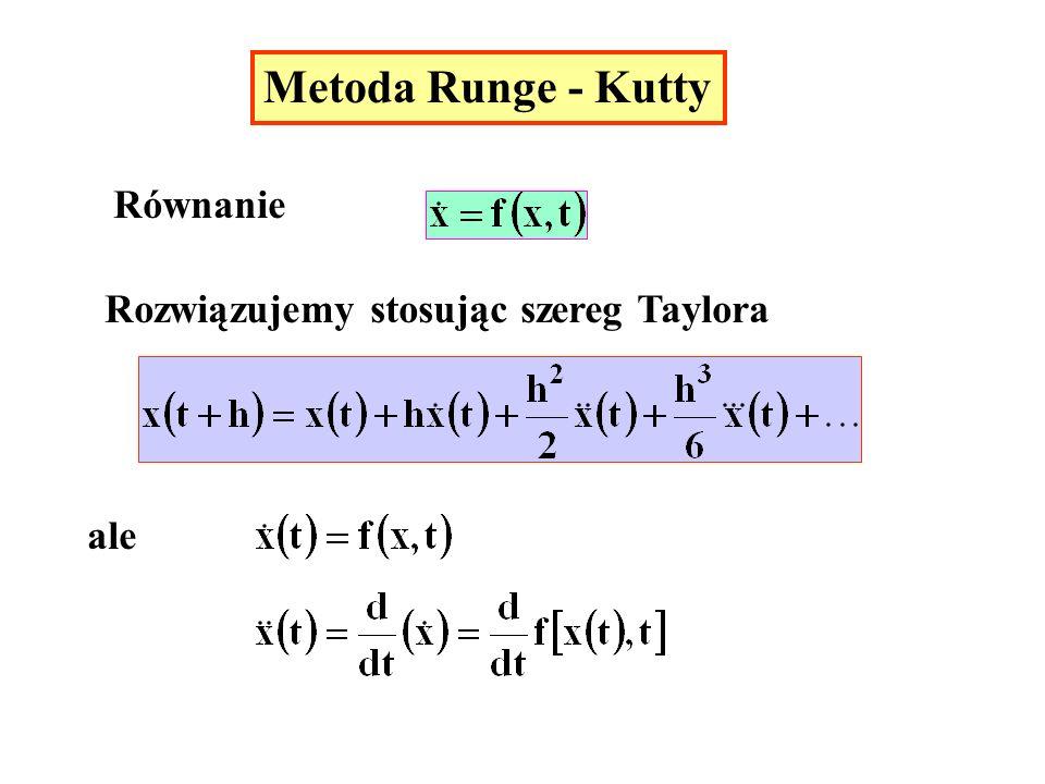 Metoda Runge - Kutty Równanie Rozwiązujemy stosując szereg Taylora ale