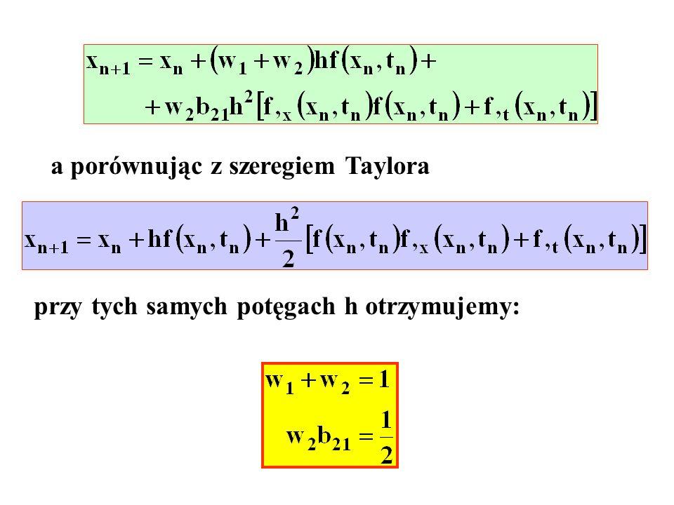 a porównując z szeregiem Taylora przy tych samych potęgach h otrzymujemy: