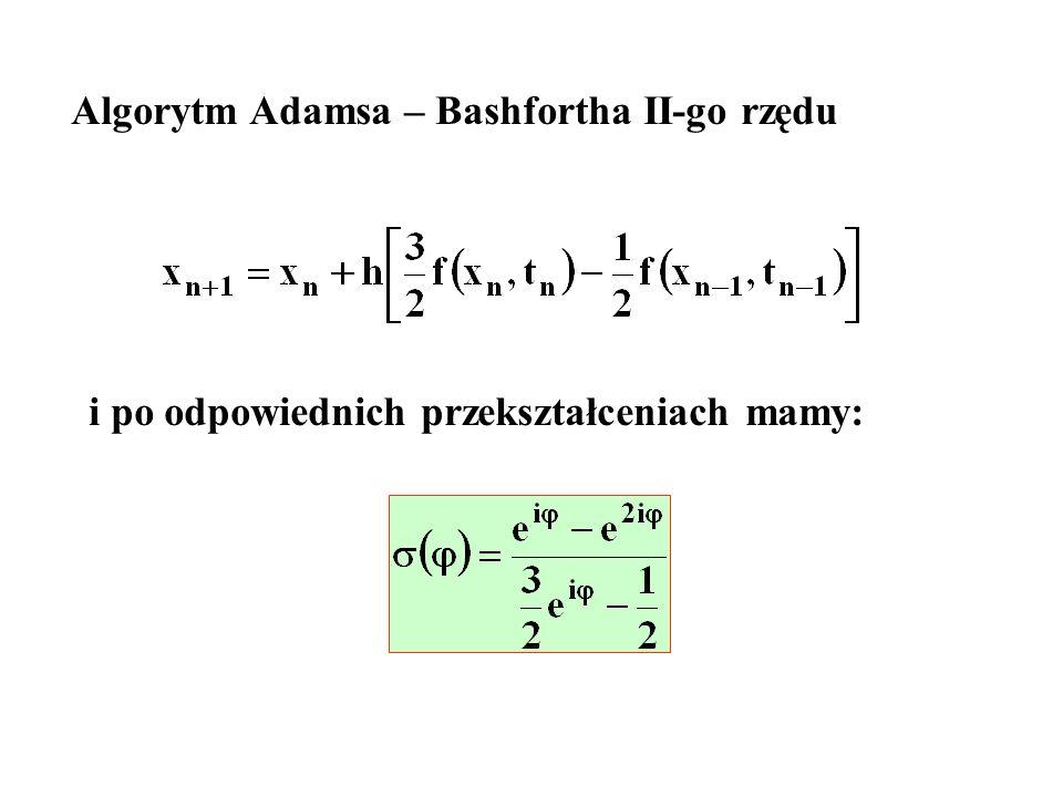 Algorytm Adamsa – Bashfortha II-go rzędu i po odpowiednich przekształceniach mamy: