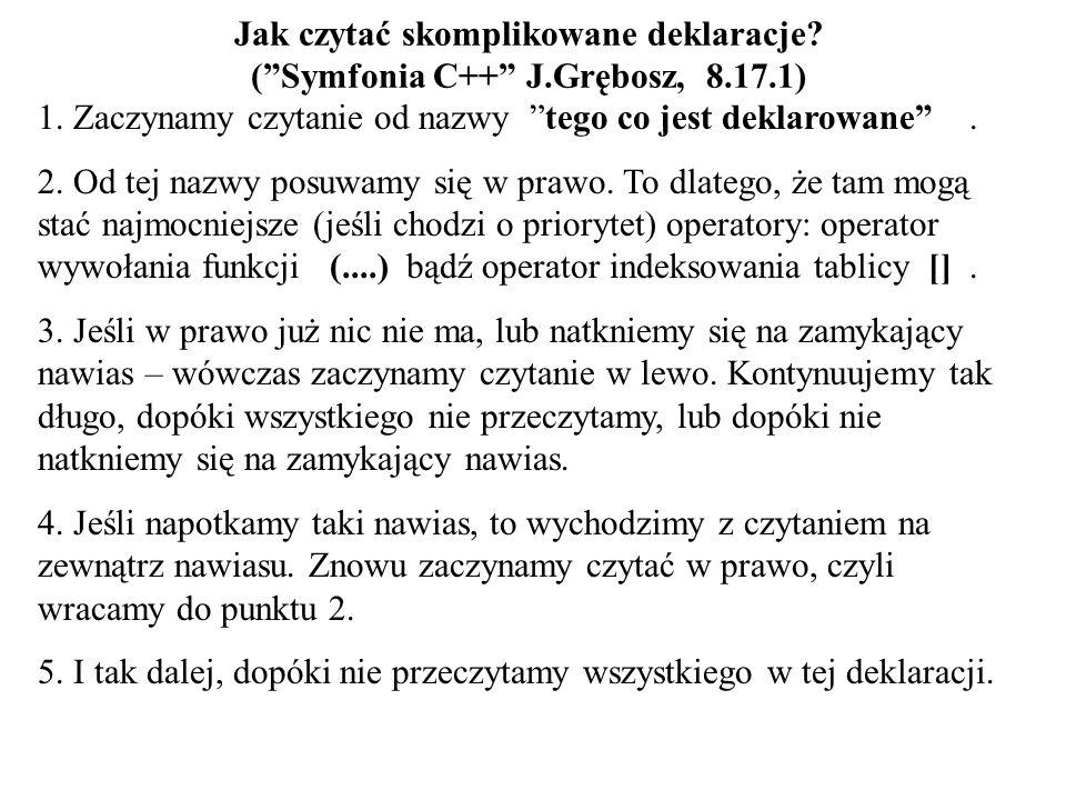 Jak czytać skomplikowane deklaracje? (Symfonia C++ J.Grębosz, 8.17.1) 1. Zaczynamy czytanie od nazwy tego co jest deklarowane. 2. Od tej nazwy posuwam