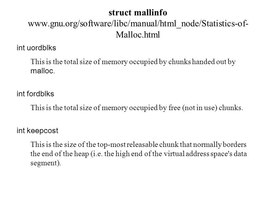 struct mallinfo, mallinfo() przykład użycia #include /* przykład mallinfo () */ #include
