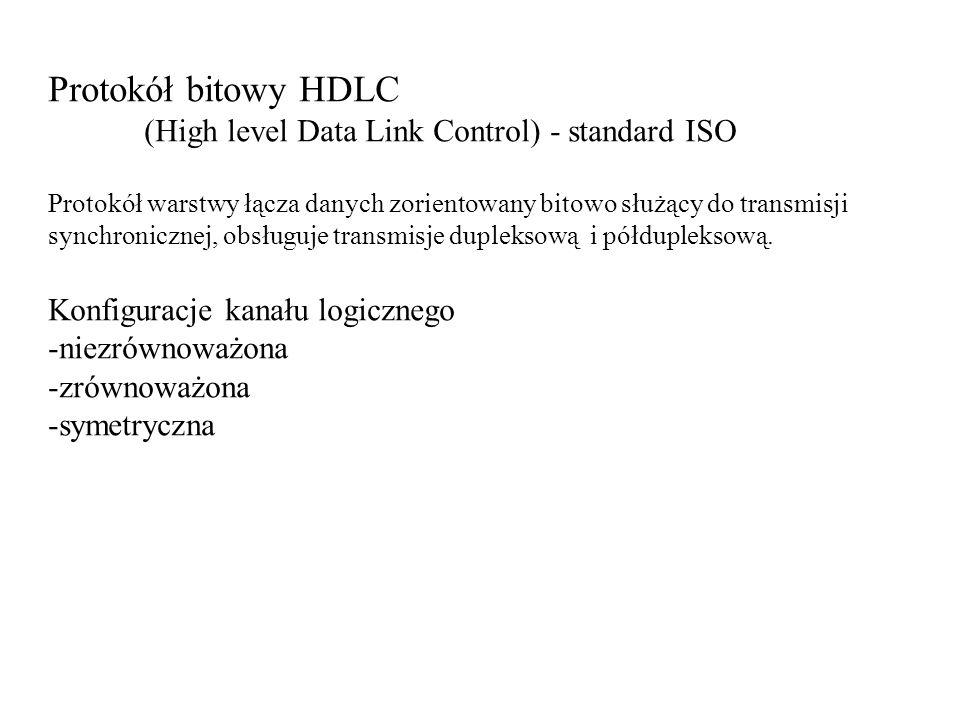 Protokół bitowy HDLC (High level Data Link Control) - standard ISO Protokół warstwy łącza danych zorientowany bitowo służący do transmisji synchronicz