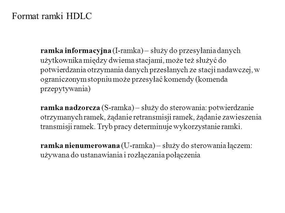 Format ramki HDLC ramka informacyjna (I-ramka) – służy do przesyłania danych użytkownika między dwiema stacjami, może też służyć do potwierdzania otrz