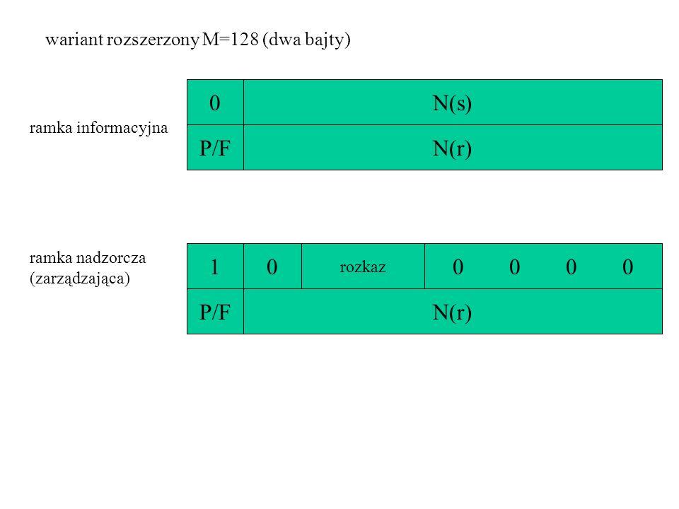 wariant rozszerzony M=128 (dwa bajty) 0N(s) ramka nadzorcza (zarządzająca) 10 rozkaz 0 0 P/FN(r) P/FN(r) ramka informacyjna