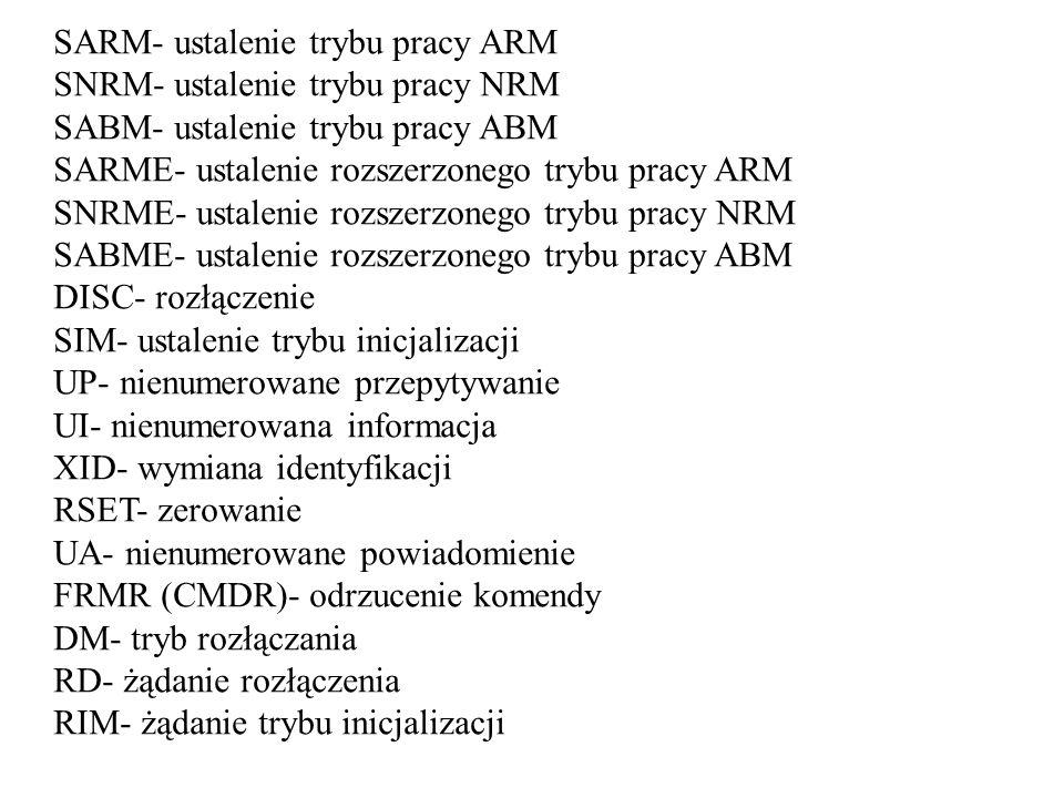 SARM- ustalenie trybu pracy ARM SNRM- ustalenie trybu pracy NRM SABM- ustalenie trybu pracy ABM SARME- ustalenie rozszerzonego trybu pracy ARM SNRME-