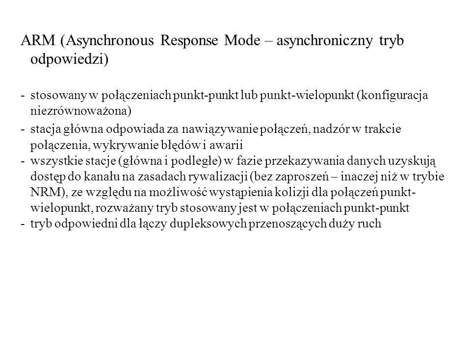 ARM (Asynchronous Response Mode – asynchroniczny tryb odpowiedzi) -stosowany w połączeniach punkt-punkt lub punkt-wielopunkt (konfiguracja niezrównowa