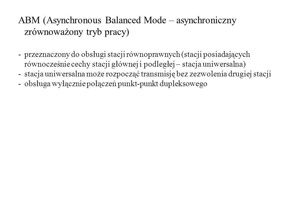 ABM (Asynchronous Balanced Mode – asynchroniczny zrównoważony tryb pracy) -przeznaczony do obsługi stacji równoprawnych (stacji posiadających równocze