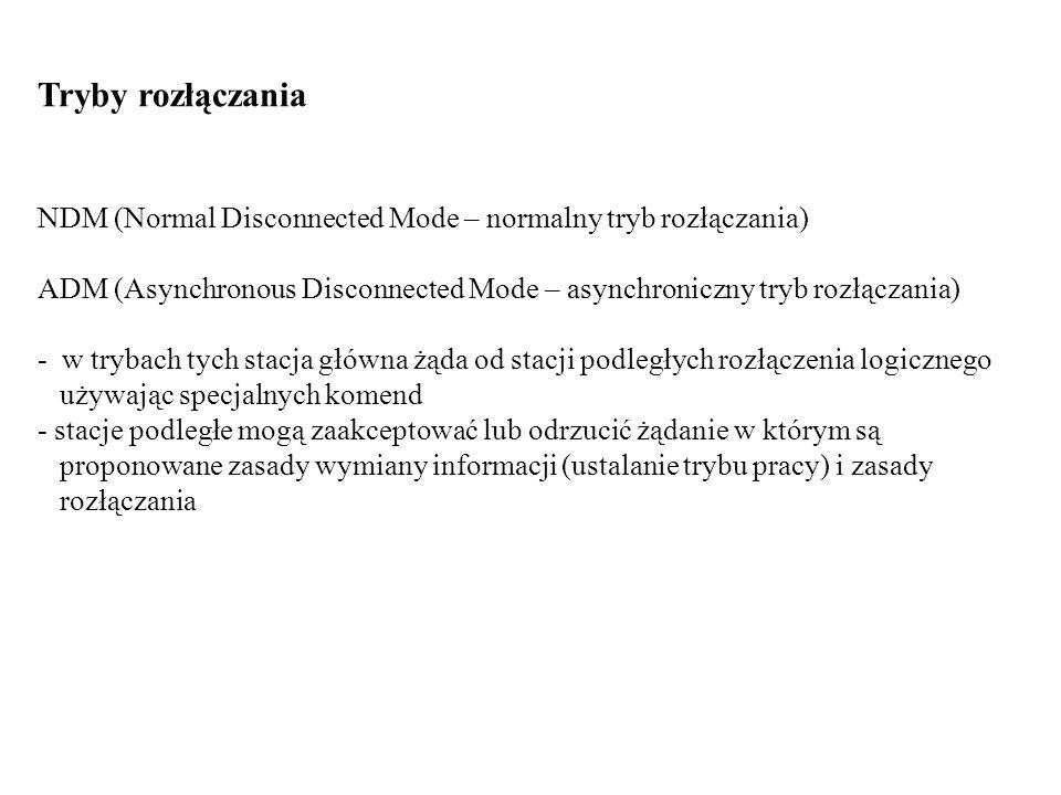 Tryby rozłączania NDM (Normal Disconnected Mode – normalny tryb rozłączania) ADM (Asynchronous Disconnected Mode – asynchroniczny tryb rozłączania) -